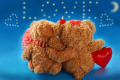 Valentine`s date of teddy bears couple — 图库照片