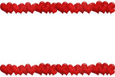 Frame with red hearts in a row — Stock Photo
