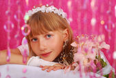 Girl going to the first holy communion (in studio) — Stock Photo