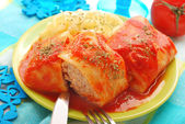 Stuffed cabbage leaves with mince and rice — Stock Photo