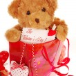 Teddy bear in gift bag for valentine — Stock Photo
