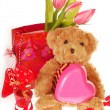 Stock Photo: Teddy bear with valentine`s gifts