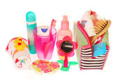Toiletries stuffs for little girl — Stock Photo