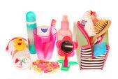 Toiletries stuffs for little girl — Stock Photo