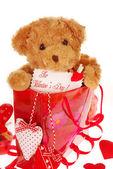 Urso de pelúcia no saco de presente para o dia dos namorados — Fotografia Stock