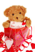Teddy bear in gift bag for valentine — Stock Photo
