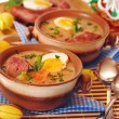 Stock Photo: White borscht for easter