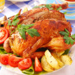 Roasted chicken stuffed with liver — Stock Photo #9421515