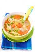 Chicken soup with noodles for child — Stock Photo
