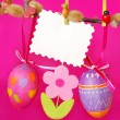 Easter decoration with hanging eggs — Stock Photo