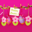 Stock Photo: Easter border with hanging eggs