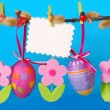 Stock Photo: Easter decoration with hanging eggs