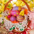 Easter basket with colorful eggs — Stock Photo #9521465