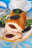 Loin of pork with prune — Stock Photo