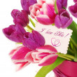 Bunch of tulips with greetings card — Stock Photo #9829575