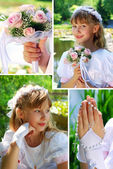 Collage with the first holy communion — Stock Photo