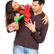 Young couple gift balloon flower valentine´s day isolated — Stock Photo