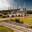 Industry trucks railway co2 chimney industrial building — Stock Photo