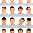 Adult man face expressions composite isolated on white background — Foto Stock