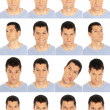 Adult man face expressions composite isolated on white background — Stock Photo