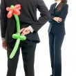 Royalty-Free Stock Photo: Businessman gift flower balloon to boss isolated on white background