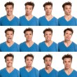 Young man face expressions composite isolated on white background - Stock Photo
