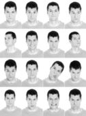 Adult man face expressions composite composite black and white. — Stock Photo