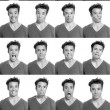 Young man face expressions composite black and white - Stock Photo