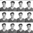 Young man face expressions composite black and white — Stock Photo