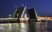 Night view of Palace Bridge. St Petersburg, Russia. — Stock Photo