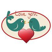 Beautiful birdie in love with heart — Stock Vector