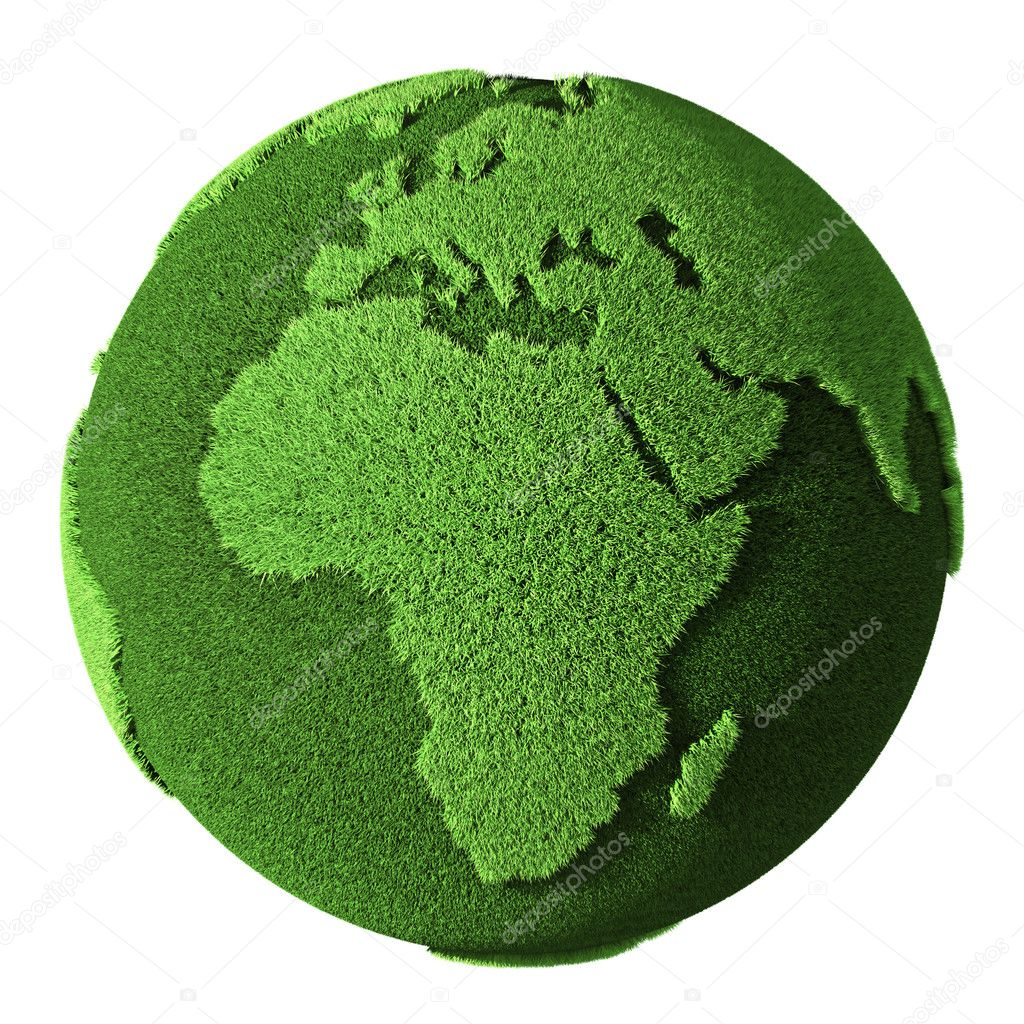 Grass Globe - Africa, isolated on white background. 3d render — Stock Photo #10673724