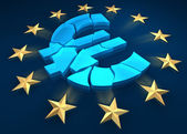 Disintegration of the eurozone. Gold stars are fleeing from the euro symbol. 3d render — Stock Photo