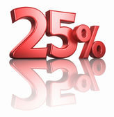Glossy Red Twenty Five Percent — Stock Photo