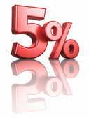 Glossy Red Five Percent — Stock Photo