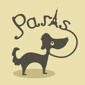 Paris and dog — Stock Vector