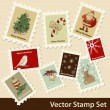 Xmas stamps — Stock Vector