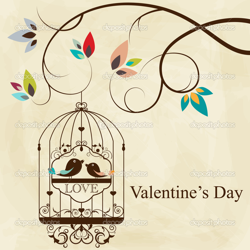 St. Valentine's day greeting card with birds  Stock Vector #8874208