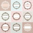 Set of vintage floral frame — Vector de stock
