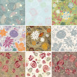 Set of seamless floral background - Stock vektor