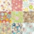 Set of seamless floral pattern — Stockvectorbeeld