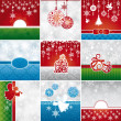 Stock Vector: Set of Christmas cards