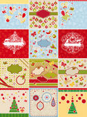 Set of Christmas cards and design elements — Stock Vector