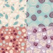 Set of cute seamless backgrounds - Stock vektor