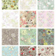 Set of seamless floral background — Stockvectorbeeld