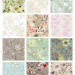 Stock vektor: Set of seamless floral background