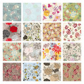 Set of seamless floral background — Stok Vektör