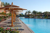 在酒店的游泳池在遮阳伞下的板床。埃及 — 图库照片