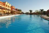 Territory of hotel at pool. Egypt. Hurgada. — Stock Photo
