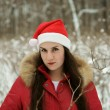 The girl in wood in a hat of Santa Claus — Stock Photo #8909237